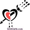 Vector Clipart illustration  of a heart with an arrow through it