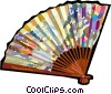 Vector Clip Art image  of a oriental hand fan