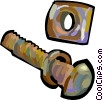 Vector Clipart graphic  of a Nut and bolt