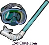 Vector Clip Art image  of a Snorkel and mask