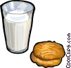 Vector Clipart graphic  of a Milk and cookies