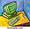 Vector Clip Art graphic  of a desktop computer system