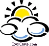 Vector Clip Art image  of a cloud with sun