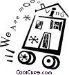 Vector Clipart graphic  of a house on wheels we are moving