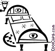 Vector Clip Art image  of a bed