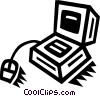 Vector Clipart illustration  of a computer desktop system