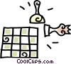 Vector Clip Art graphic  of a chess board and pieces