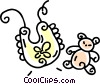 Vector Clipart graphic  of a baby bib and stuffed animal