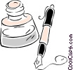 Vector Clip Art picture  of a fountain pen with inkwell