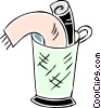 towels in a bucket Vector Clip Art picture
