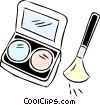 cosmetics with makeup brush Vector Clipart illustration