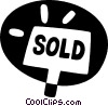 Vector Clip Art image  of a sold sign