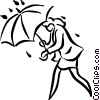Vector Clipart illustration  of a woman caught in the rain
