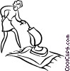 Vector Clipart illustration  of a woman vacuuming