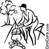 Vector Clipart image  of a man cooking at a camp fire