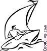 Vector Clip Art picture  of a sailing