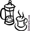 Vector Clipart graphic  of a Coffee maker and cup of coffee