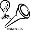 Golf ball and tee Vector Clip Art picture
