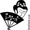 Vector Clip Art graphic  of a Japanese lady with a hand fan