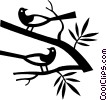 Vector Clip Art graphic  of a birds in a tree