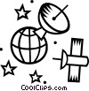 Planet earth with satellite communication Vector Clipart graphic