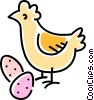 Vector Clipart picture  of a chicken with eggs