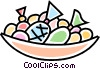 Vector Clip Art image  of a bowl of candies