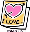 Vector Clipart graphic  of a valentines day card