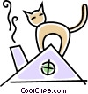 cat on the roof Vector Clipart illustration