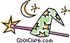 Vector Clipart picture  of a magicians hat and wand