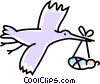 Vector Clip Art image  of a stork delivering a baby