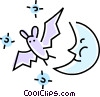 bat and the moon Vector Clip Art graphic