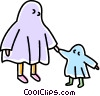 Vector Clipart graphic  of a ghost costumes