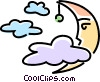 Vector Clip Art image  of a moon and cloud