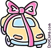 Vector Clip Art image  of an automobile with a ribbon on it