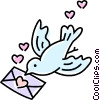 Vector Clipart illustration  of a bird with a love letter