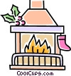 Vector Clip Art image  of a Christmas fire