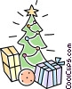 Christmas trees and presents Vector Clipart picture