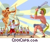 Achilles Paris slays Achilles aided by God Apollo Vector Clipart picture
