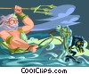 Vector Clip Art image  of a Neptune with trident and