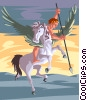 Vector Clip Art image  of a Pegasus and Bellerophon