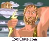 Vector Clip Art graphic  of a Zeus and Mount Olympus