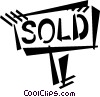 Vector Clip Art graphic  of a sold sign