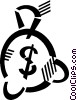 Vector Clip Art graphic  of a money bag