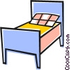 Vector Clip Art image  of a Single bed
