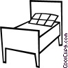 Vector Clip Art graphic  of a Single bed
