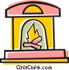 Vector Clip Art image  of a Fireplace