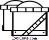 Vector Clip Art image  of a oil refineries