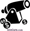 Vector Clip Art picture  of a cannon with coins