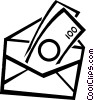 Vector Clip Art image  of a money in an envelope